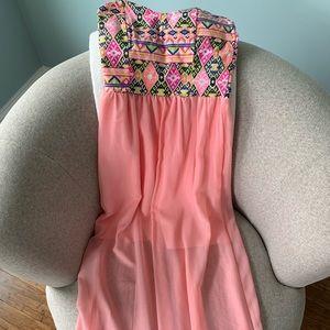 Maxi dress with sheer bottom